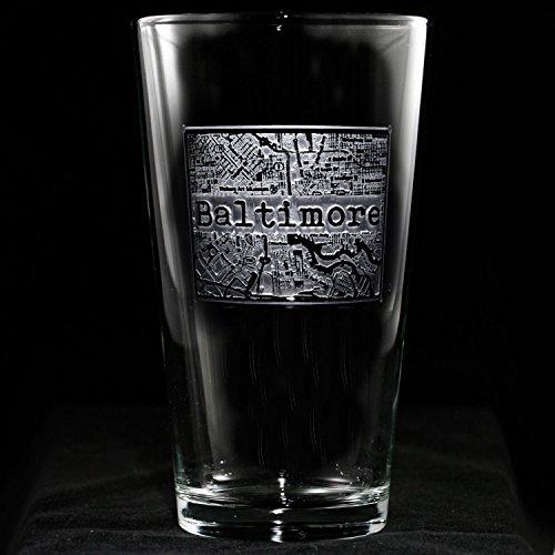 Street Maps Etched Pint Pub Glass - One Pint Pub Glass - (Crest Milk Glass)