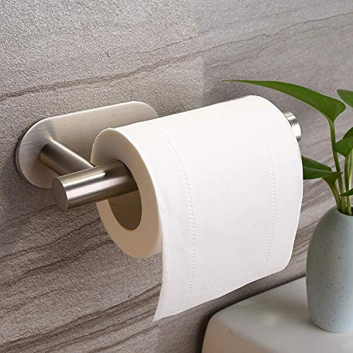 YIGII Toilet Paper Holder Self Adhesive - 3M Adhesive Toilet Roll Holder no Drilling for Bathroom Stainless Steel Brushed
