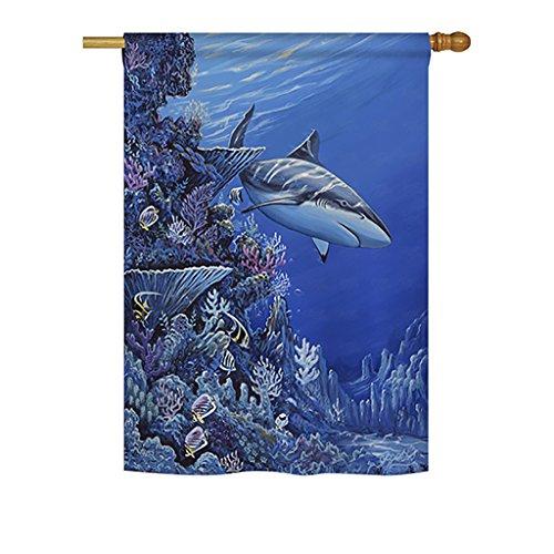 "Breeze Decor H107050-P3 Shark Reef Coastal Sea Animals Impressions Decorative Vertical 28"" x 40"" House Flag"