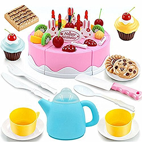 Dr. Queen Play Plastic Food Set Kids Gift Birthday Cake with Cutting Knife Tea Pot and Cups Baby Children Kids Pretend Play Toys 54 Pcs Pink