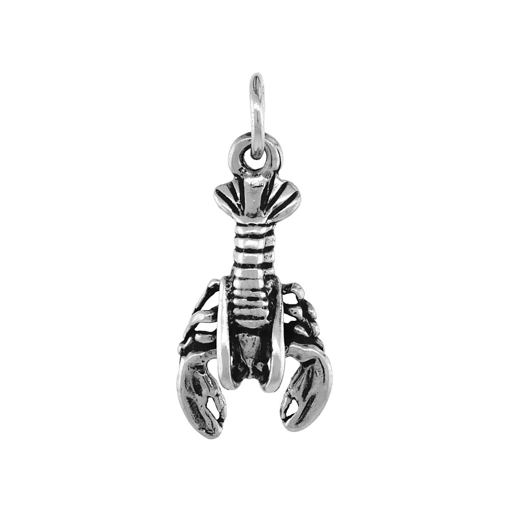 Sterling Silver Lobster Necklace Antiqued Finish 7//8 inch 16-30 inch 0.8mm Box Chain
