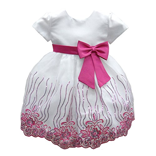 Baby Girls Fuchsia Floral Print Sequined Special Occasion Dress 12M ()