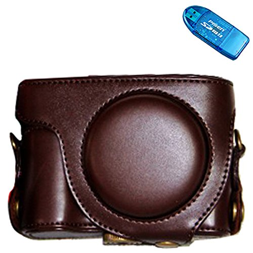 First2savvv XJPT-EXH50-10 dark brown full body Precise Fit PU leather digital camera case bag cover with shoulder strap for CASIO EXILIM EX-H60 EX-H50 EXH60 H60 EXH50 H50 ZS220 + SD CARD (Exilim Digital Memory)