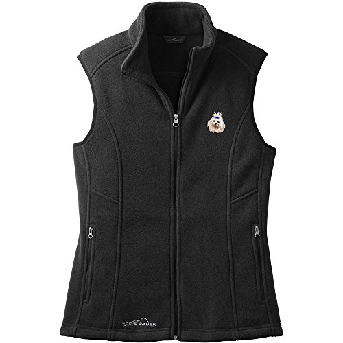 Cherrybrook Dog Breed Embroidered Womens Eddie Bauer Fleece Vest - X-Small - Black - Maltese
