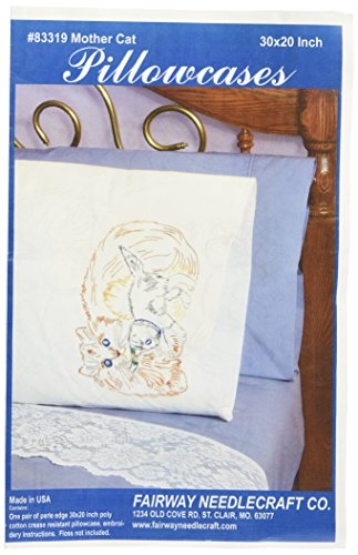 Fairway Stamped Perle Edge Pillowcase, 30 by 20-Inch, Cat and Kitten, 2-Pack - Cat Needlepoint Pillow