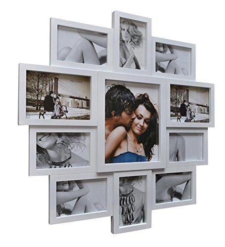Bilderrahmen Collage 10 x 15 cm Weiß Fotorahmen Fotogalerie 11 Fotos mit Glaseinsätzen 63 x 63 cm LV163