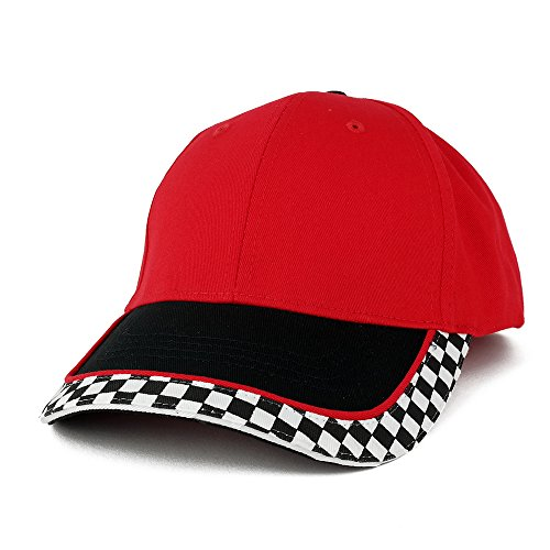 Racing Flag Low Profile Structured Cotton Twill Baseball Cap (One Size, -