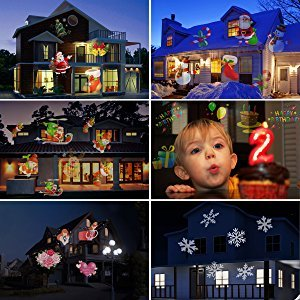YH Christmas Projector Lights 10W LED Projection Light Landscape Spotlight for Outdoor water proof IP56 Holiday gobos Decoration,Motion Image 10W/20Slides ,with remote control.