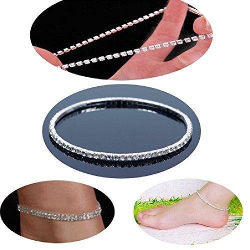 NeDonald Stretchable Elastic Full RhinAnklet Ankle Foot Jewelry Barefoot Bracelet Bangle 1 Layer by NeDonald (Image #3)