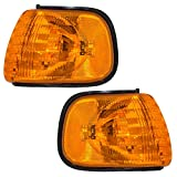 Driver and Passenger Park Signal Corner Marker Lights Lamps with Amber & Clear Lenses Replacement for Dodge Van 55076527AC 55076526AC