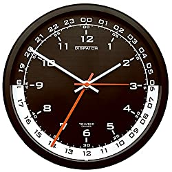 Trintec 12 & 24 Hour Military Time Swl Zulu Time 24hr Wall Clock - Black Dial with White Moon DSP04