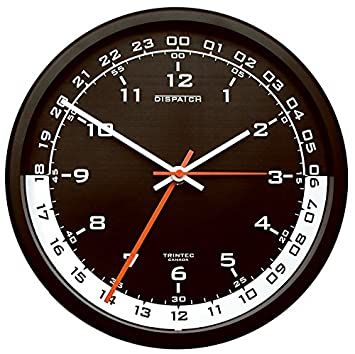 Trintec 12 24 Hour Military Time Swl Zulu Time 24hr Wall Clock – Black Dial with White Moon DSP04