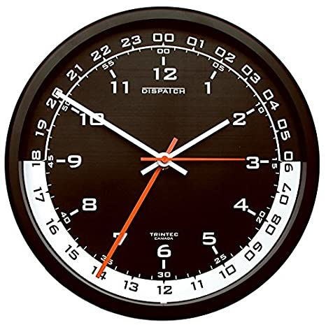 Military Time Clock >> Trintec 12 24 Hour Military Time Swl Zulu Time 24hr Wall Clock Black Dial With White Moon Dsp04