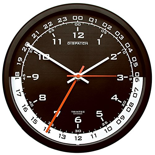 24 Hr Round The Clock - Trintec 12 & 24 Hour Military Time Swl Zulu Time 24hr Wall Clock - Black Dial with White Moon DSP04