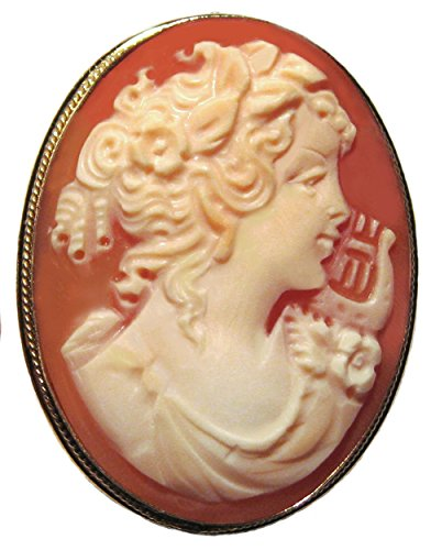 Cameo Brooch Pendant Enhancer Goddess of Music Master Carved, Sterling Silver 18k Gold Overlay Italian