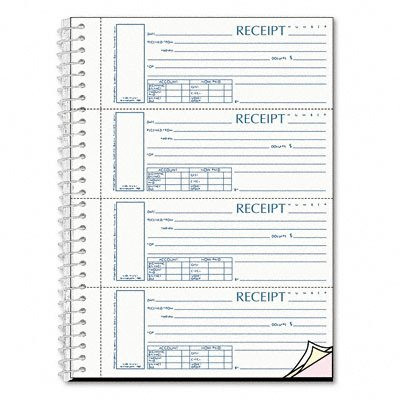 Receipt 2-3/4 X 7 Carbonless Triplicate 120 Set - Spiralbound Unnumbered Money Receipt Book, 2-3/4 X 7, Three-Part, 120 Sets/Book