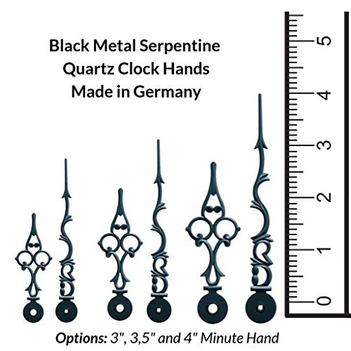 Qwirly Metal Clock Hands: Black Serpentine Filigree for Hermle, Kieninger or Other Euro Fit Quartz Clocks with Kieninger Battery Movement or MS Battery Movement, 3 1/2