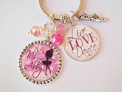 - Personalized Dance Key Chain Child Coach Teacher Live Love Dance Ballet Tap Jazz Hip Hop Country Modern Pointe Award Recital Gift CHOICE OF COLOR CHARM & SILHOUETTE
