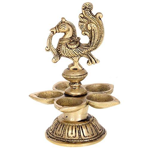 Kapasi Traditional Oil Lamp with 5 Flames/Pooja Diya Set/Home Puja Diya Lamp/Brass Metal Diyas for Temple/Religious Oil Lamp for Home Puja - Metal For Home Temple