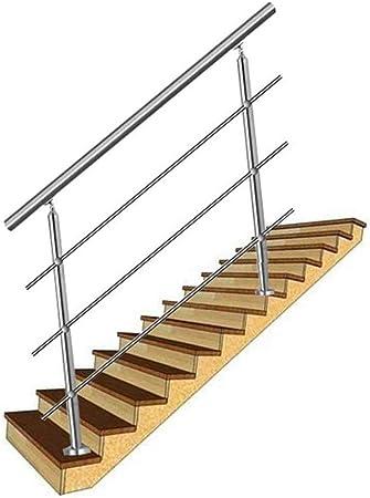 YIKE-Pasamanos Barandilla de Escalera de Tubo Redondo de Acero Inoxidable, barandas Interiores y Exteriores, 2 pilares, con 4 Barras horizontales, Utilizado como Muro de contención de balcón de esca: Amazon.es: Hogar