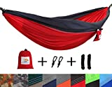 Image of Patio Watcher Single Double Camping Hammock Ultralight Portable Nylon Parachute Hammocks for Backpacking, Travel, Hiking, Patio, Outdoor, Red/Grey