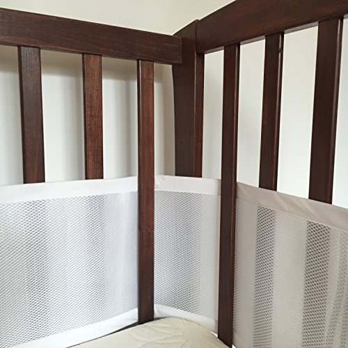 Premium SafeBaby Breathable Mesh Crib Liner, Bumper – White, Safe, 1 Piece Adjustable Design Super Easy to Install for Cribs with Rails, Solid Ends and Mini Cribs + Free Bag for Kids Toys