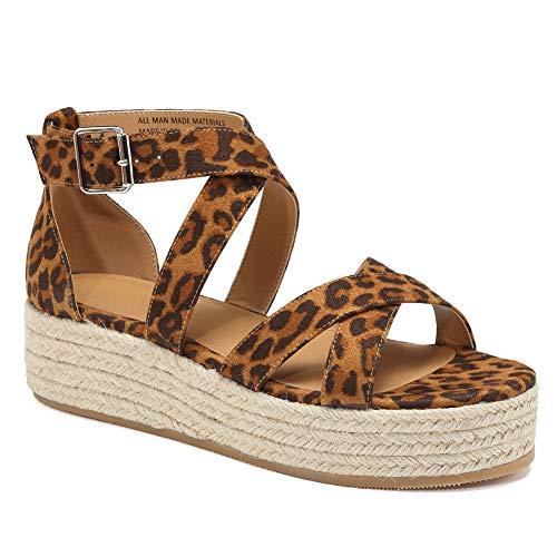 (VANDIMI Sandals for Women Espadrille Platform Sandals Straw Wedge Cross Ankle Strap Open Toe Shoes Summer Casual Peep Toe Mid Heel Flat Sneaker White)