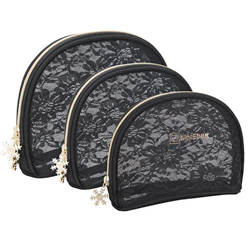 - MakeupBag NiceEbag Set of 3 Mesh Cosmetic BagsOrganizer See Through Handy Pouch for Women Travel Storage for Cosmetics Make Up Tools Toiletry Jewelry Digital Accessory, Black Lace Mesh