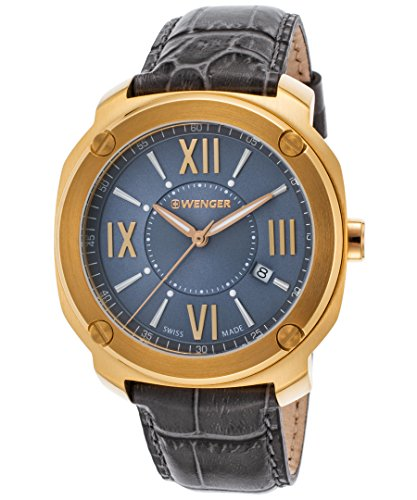 Wenger 01-1141-120 Men's Edge Romans Grey Genuine Leather & Dial Gold-Tone Ss Watch