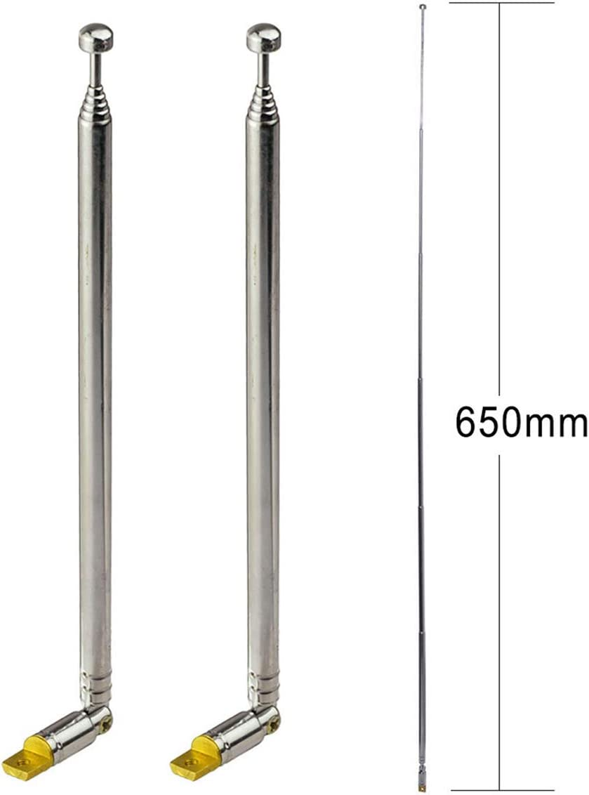 Bingfu 7-Sections Telescopic 65cm FM Antenna Replacement (2-Pack) Compatible with Indoor Portable Radio Bluetooth Stereo Receiver AV Audio Vedio Home Theater Receiver Power Amplifier System Tuner