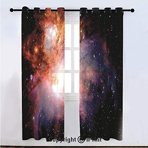 "Space Decorations Semi Sheer Voile Window Curtain With Drapes Grommet,Space Nebula after Super Nova Celestial Explore the Cosmos in the Universe Print,for Bedroom,Living Room & Kids Room(108""W x 84""L)"