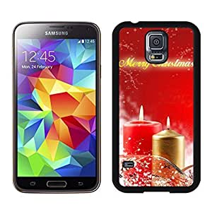 S5 Case,Christmas Red Golden Candles TPU Black Case For Galaxy S5,Samsung Galaxy S5 I9600 Protective