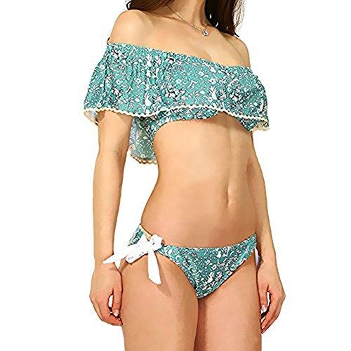 Fawnkiss Mujeres Dos Piezas Bikini Conjunto con Fuera Del Hombro Traje de baño Floral Cultivo Rizado Swimwear para Mujeres y Chicas Pasto verde
