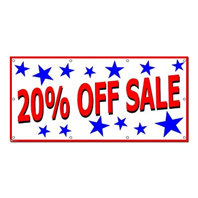 20 Percent Off Sale with Stars - Retail Store Business Sign 5'x2' Banner