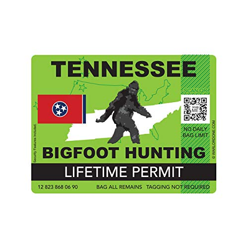 fagraphix Tennessee Bigfoot Hunting Permit Sticker Die Cut Decal Sasquatch Lifetime FA Vinyl - 4.00 Wide