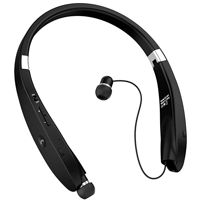 e2b3579af73 Bluetooth Headphones, Bluetooth Headset Foldable Neckband Wireless Headset  with Retractable Earbuds, Bluetooth V4.
