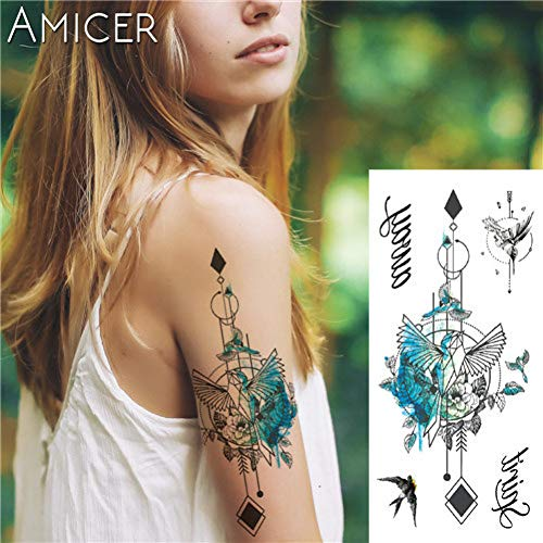(LVGU Tattoo 2 Pieces Fantasy Color Freedom Bird Phoenix Hot Large Animal Temporary Tattoo Waterproof Tattoo Sticker for Women)