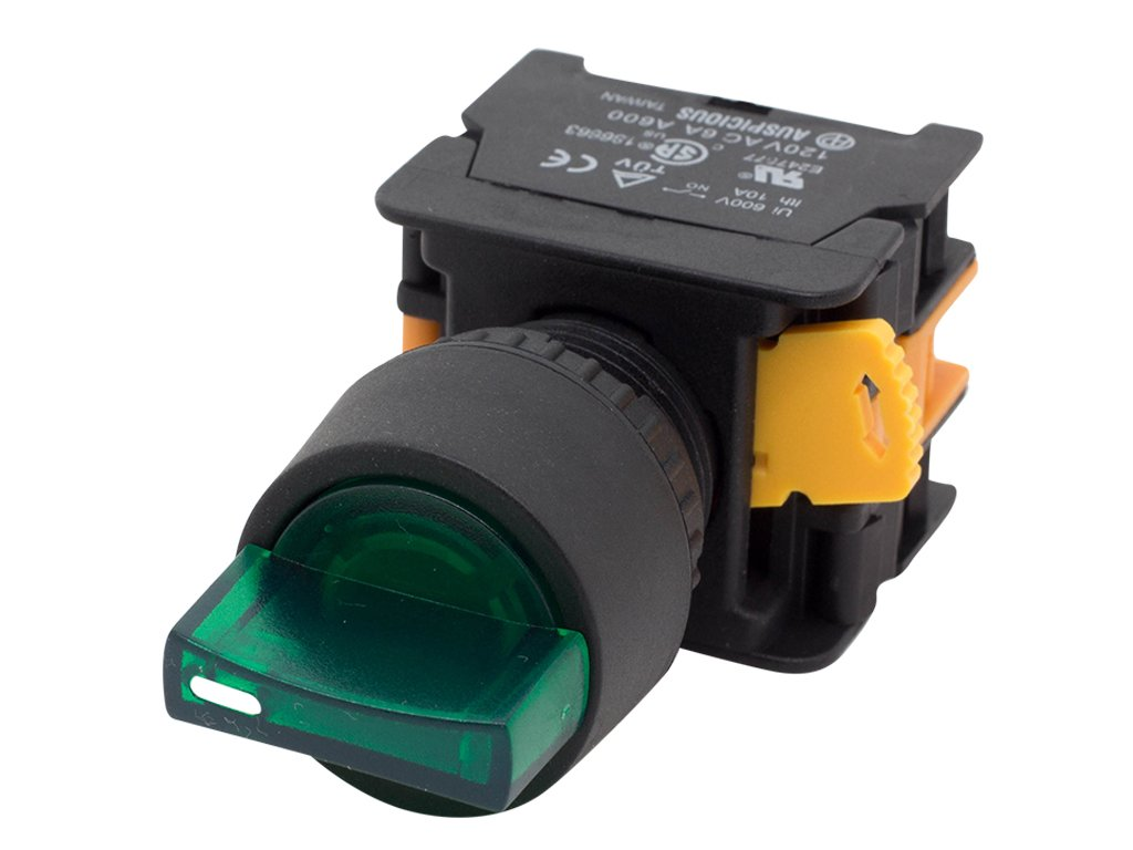Alpinetech SL223 Green 22mm Maintained Selector Switch 2NO 3 Positions 12v LED