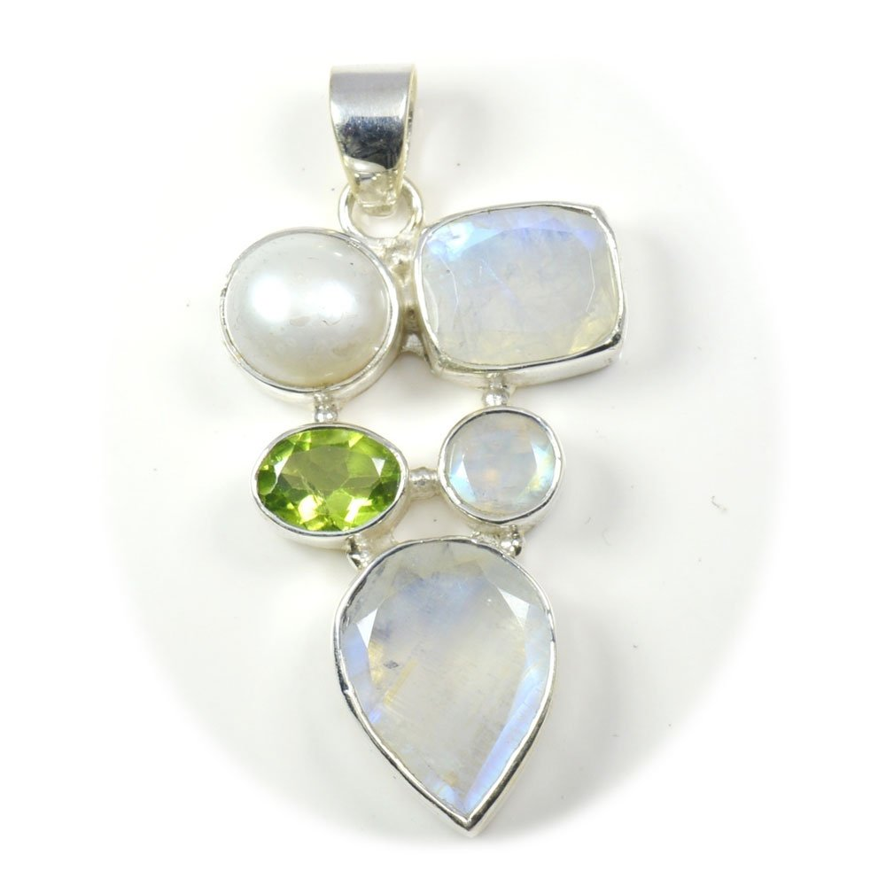 Gemsonclick Natural Multi Colour Gemstone Pendant Mixed Shape 925 Sterling Silver MSP-151