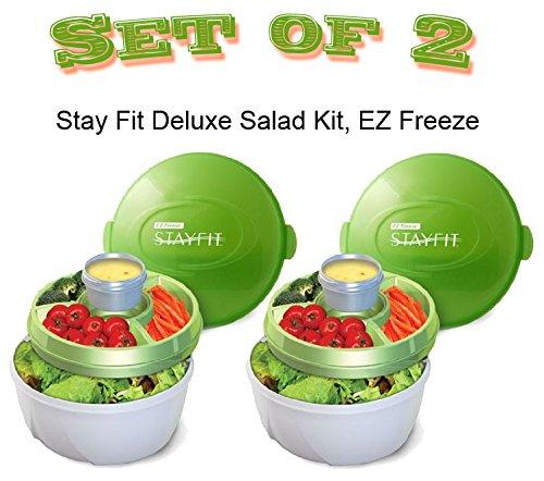 Ez Freeze Food (Stay Fit Deluxe Salad Kit, EZ Freeze - Green & White - 2 Salad Kits)