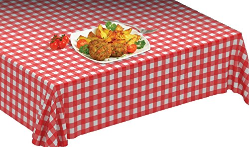 "Disposable Plastic Tablecloths On a Roll WITH Self Cutter Box,Cut Tablecloth To Own Table Size, Perfect For Kitchen or Picnic Table, Indoor/Outdoor Use,52""W X 1181""Long ,Gingham (Red)"