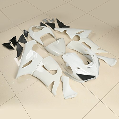 XMT-MOTO Plastic Fairing Body Set For Kawasaki Ninja ZX6R ZX 636 6R 2005-2006(Unpainted White,1 Set) (Fairing Plastic Body)