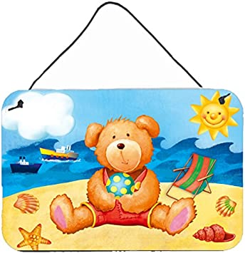 Multicolor Carolines Treasures Teddy Bear on The Beach Wall or Door Hanging Prints APH0088DS812 8 x 12