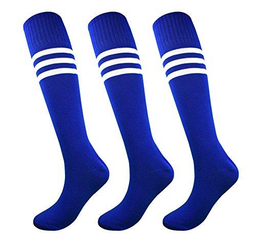 3 Stripe Tube Socks - Fitliva Tube Dress Royal Blue Athletic Athlete Sports Socks with 3 White Stripes(3pairs-Blue)