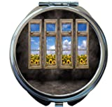 Rikki Knight Beautiful Sunflower View Distressed Interior Windows Design Round Compact Mirror