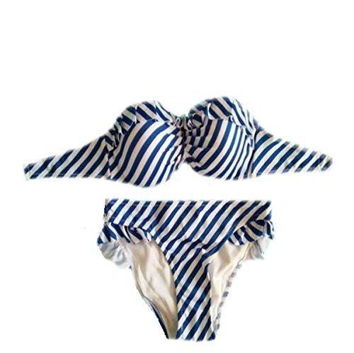 TAOZHN Bikini Femenino S M L Deportes Acuáticos Retro Precioso De Secado Rápido Bikini Oscuro Traje De Baño Blue