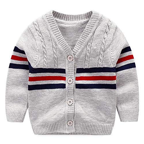 BAVST Baby Button-up Cardigan V-Neck Knit Sweater Boys Toddler Casual Outerwear (B-Grey, S:3M)