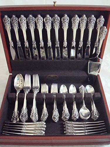 - GRANDE BAROQUE BY WALLACE STERLING SILVER FLATWARE SET SERVICE DINNER 76 PIECES