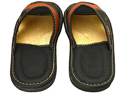 BeComfy Genuine Mens Brown Black Leather Slippers Slip-On Shoes XC64 (44 EU, Braun-Schwarz)
