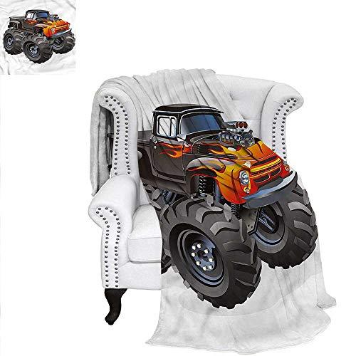 (RenteriaDecor Boys Room Travel Throw Blanket Monster Truck in Flame Custom Design Cozy Flannel Blanket 50